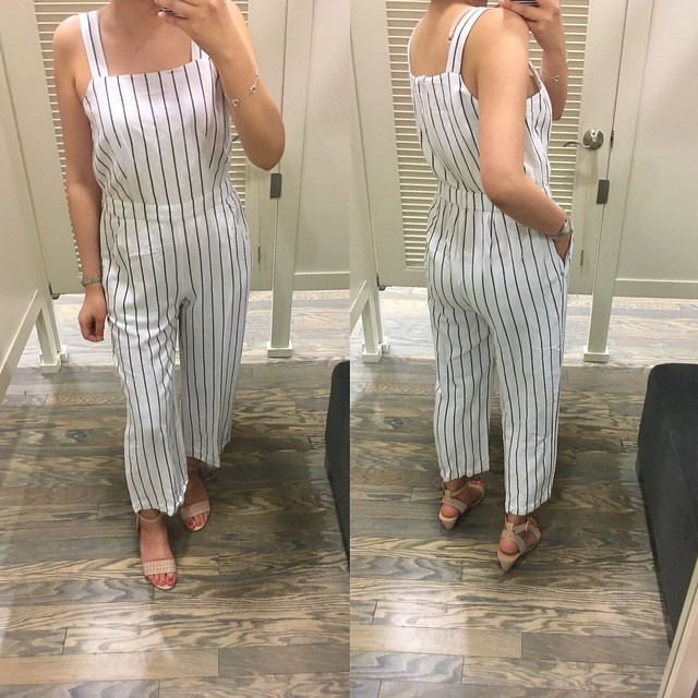 LOFT Striped Apron Jumpsuit, size XSP