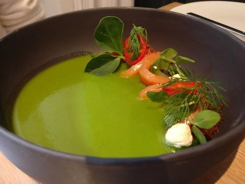 Boulevard smoked salmon, cucumber gazpacho, rye soil, citrus creme fraiche, pea tendril