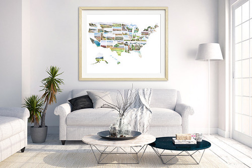 Hand-painted US Map. Artist Rachel Alvarez