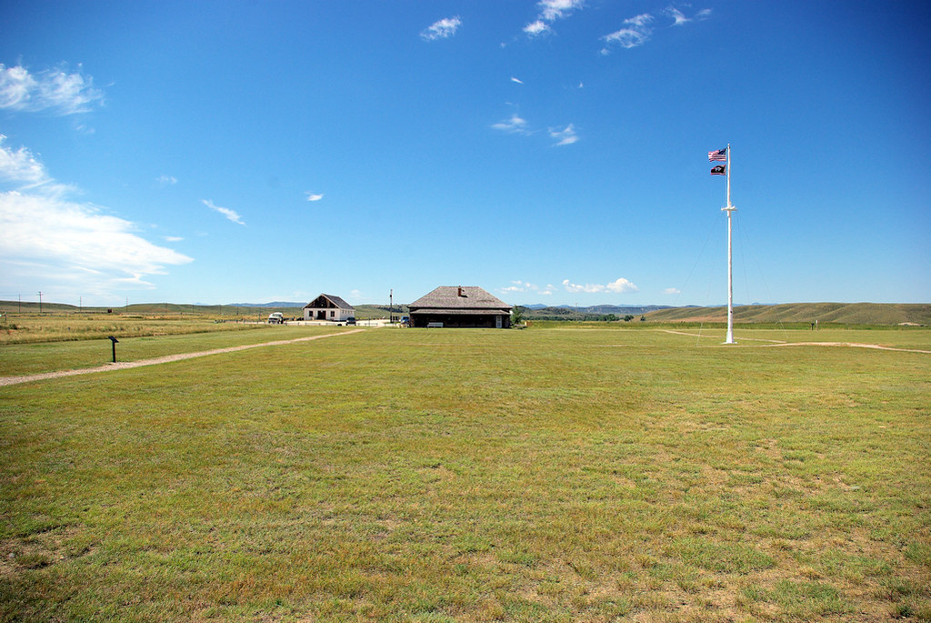 Fort Fetterman State Historic Site, Wyoming, Parade Ground, with Remaining Two Buildings, July 10, 2010