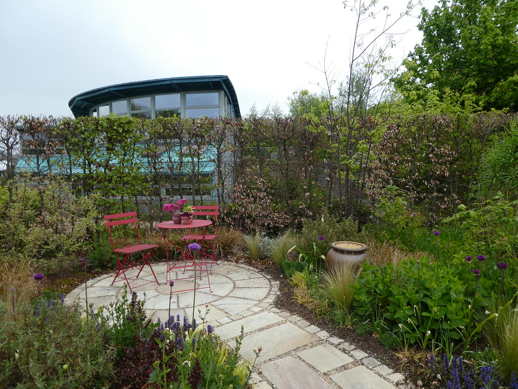 The Hedgehog Garden with the Education Centre beyond