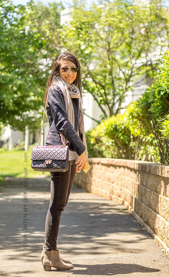 plaid scarf, black leather jacket, gray tee, black shoulder bag, black jeans, gray suede ankle boots