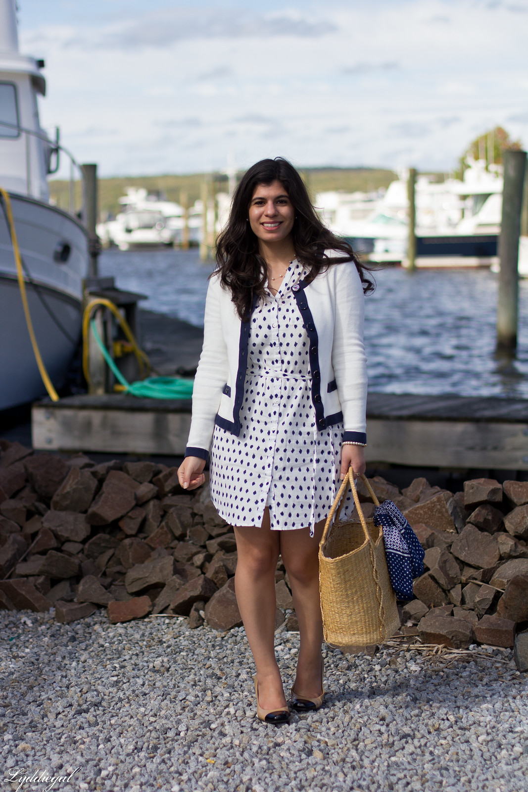 polka dot shirt dress, cardigan, straw market bag.jpg