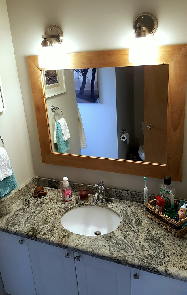 main bathroom after - granite countertop - renovation