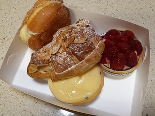 Custard Doughnut, Almond Croissand, Strawberry Flan, Passionfruit Tart from Flour of Life