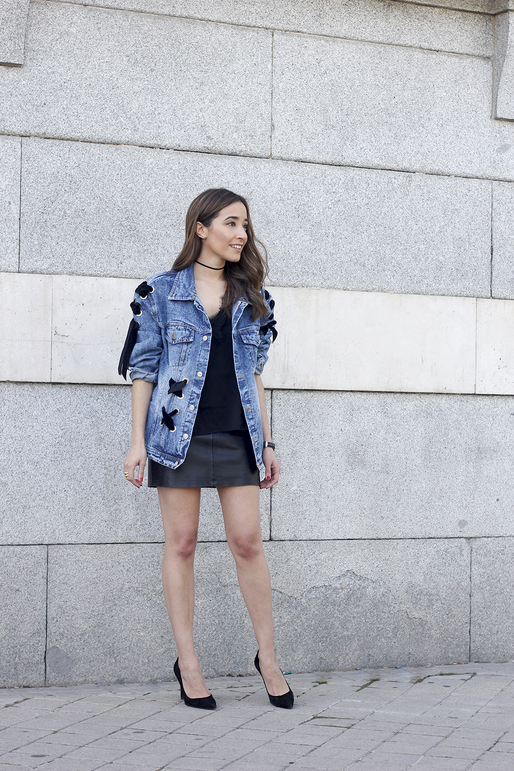 denim jacket leather skirt black heels outfit style fashion summer08