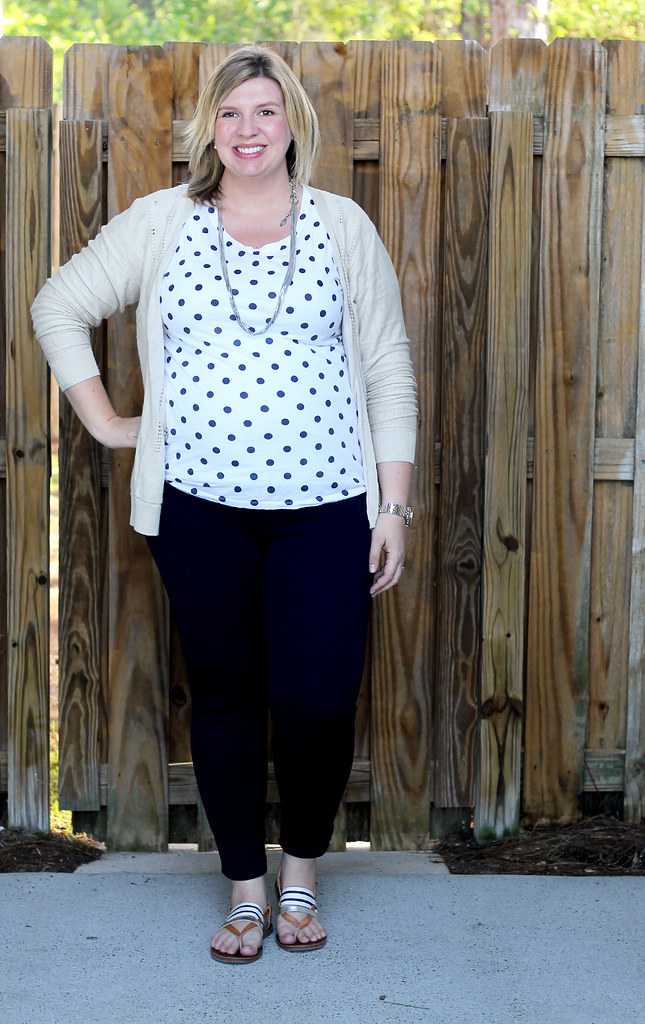 polka dot tee, navy maternity pencil pants, tan cardi 1
