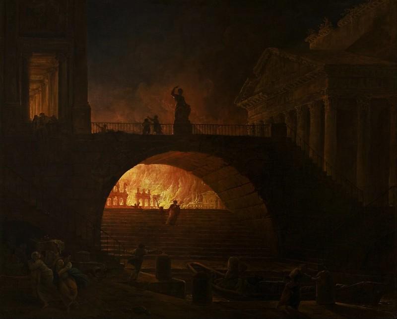 Hubert Robert - The Fire of Rome (1785)