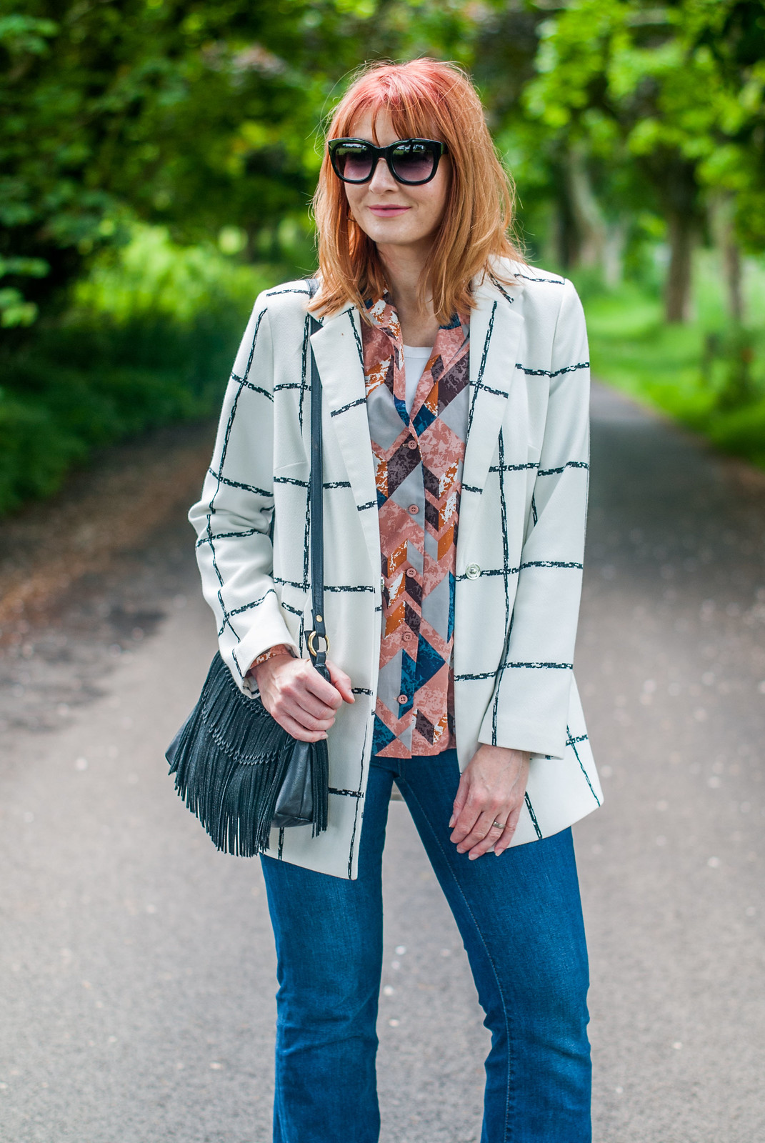 Pattern mixing: Black and white window pane jacket \ abstract print pyjama shirt \ denim flares \ wedge espadrilles | Not Dressed As Lamb, over 40 style