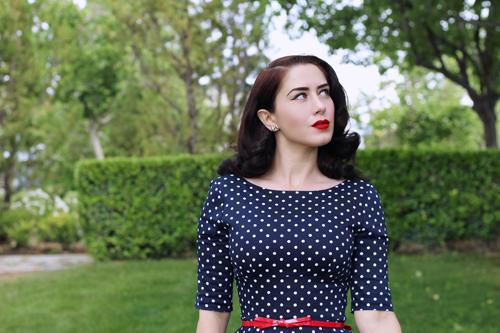 The Pretty Dress Company Hepburn Dress in Polka Dot