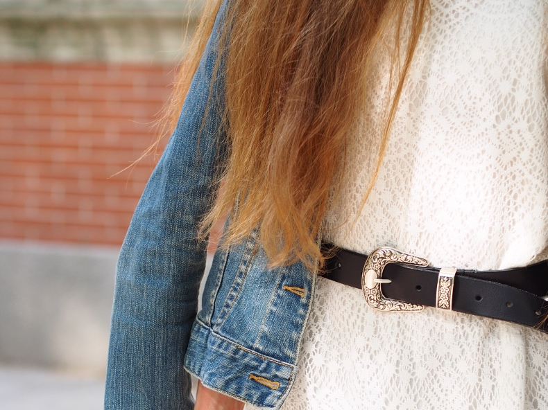 Lace dress and denim jacket