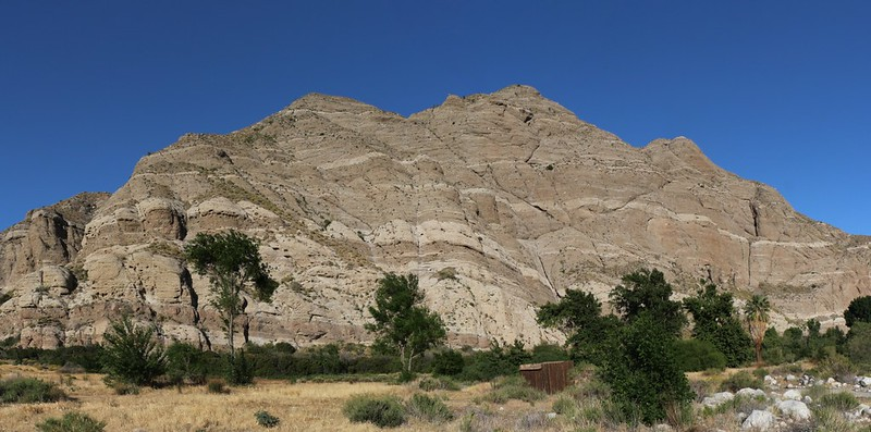 Interesting striped rock on the canyon walls at the Whitewater Preserve