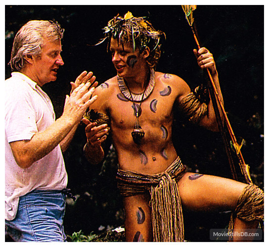 The Emerald Forest - backstage - John Boorman and Charley Boorman