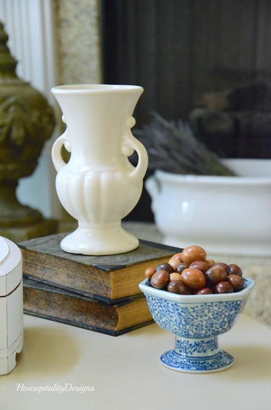 Vignette-Vintage Vase-Vintage Books-Blue and White-Housepitality Designs