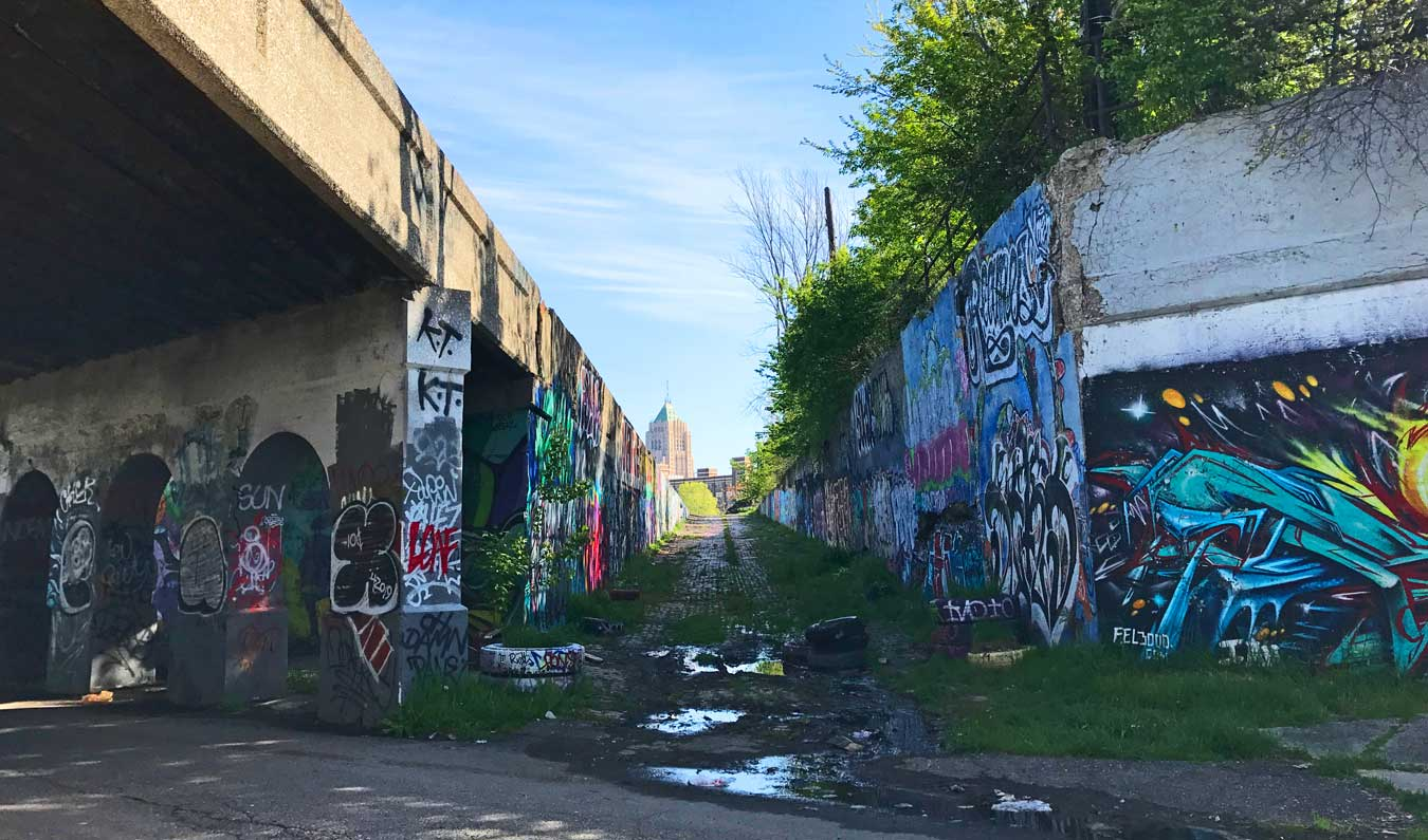 Fisher Canyon at Detroit's Lincoln Street Art Park // Tourism Cares For Detroit: Graffiti For A Cause (via Wading in Big Shoes) - Graffiti mural in Lincoln Art Park by Fel3000ft and a team of travel & tourism volunteers. Click through to learn more about the mural and revitalization efforts in Detroit!