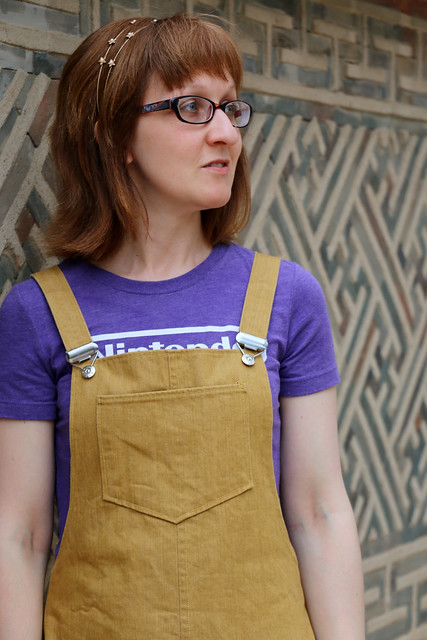 Tilly & the Buttons Cleo Dungarees in Gold Denim