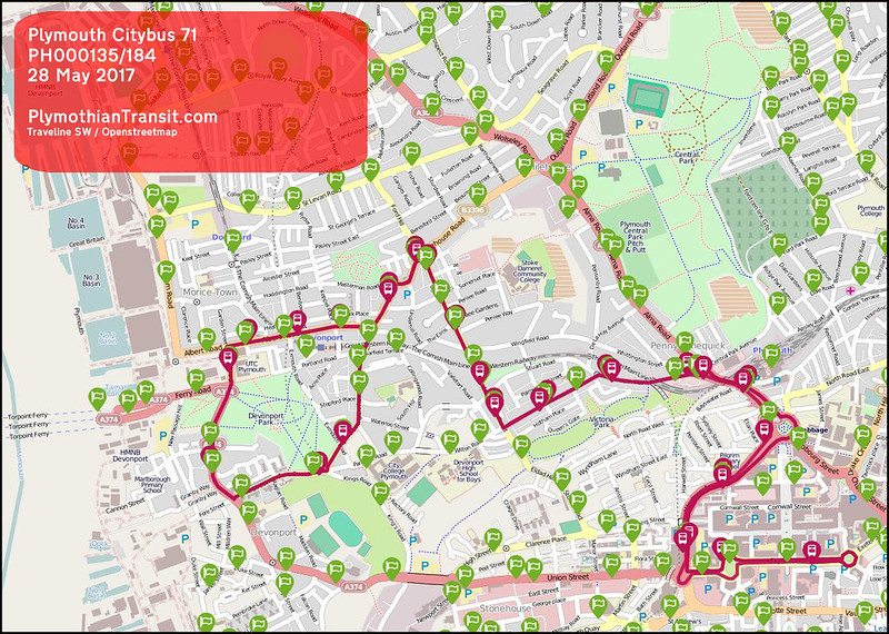 2017 05 28 PLYMOUTH CITYBUS LTD ROUTE-071 mAP