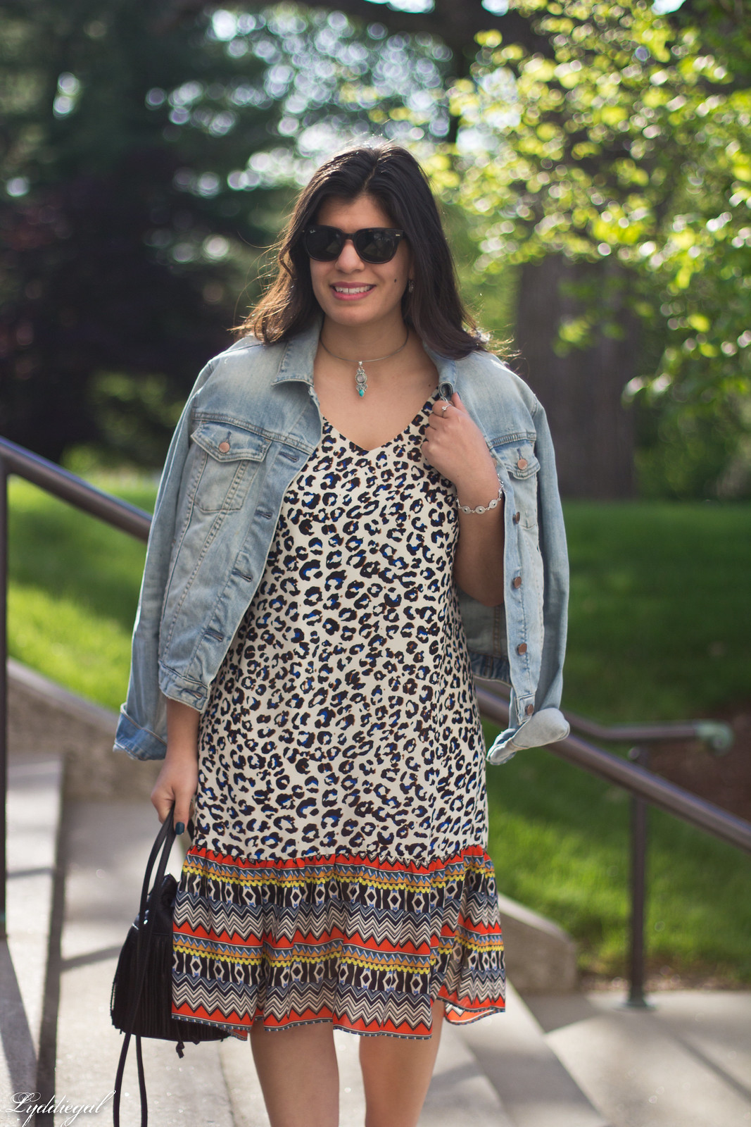 leopard print dress, denim jacket, moonstone jewelry.jpg