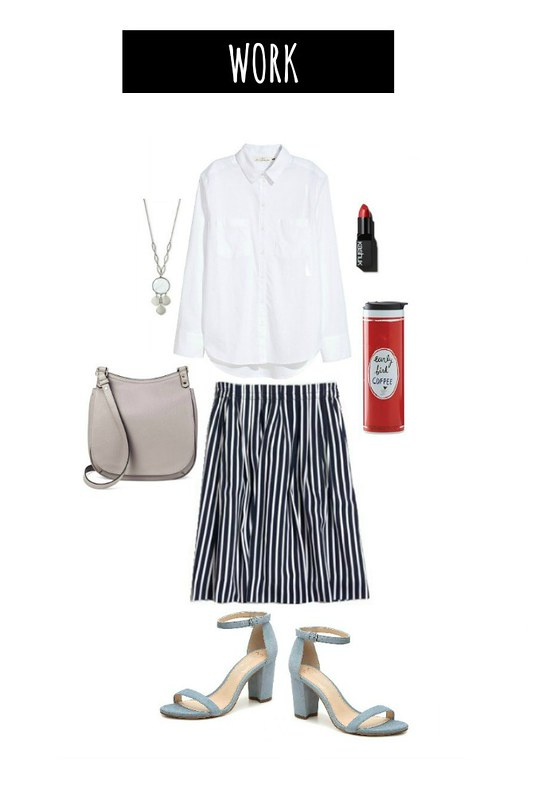 3 ways navy striped skirt for work | Style On Target