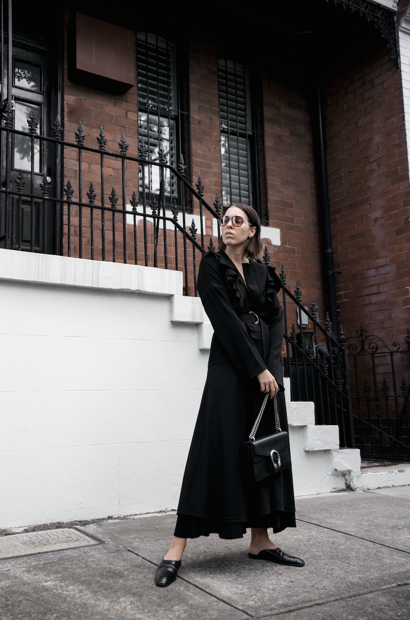 all black minimal street style gucci dionysus sunglasses mytheresa fashion blogger georgia alice frill dress loafer mules theundone  (1 of 11)