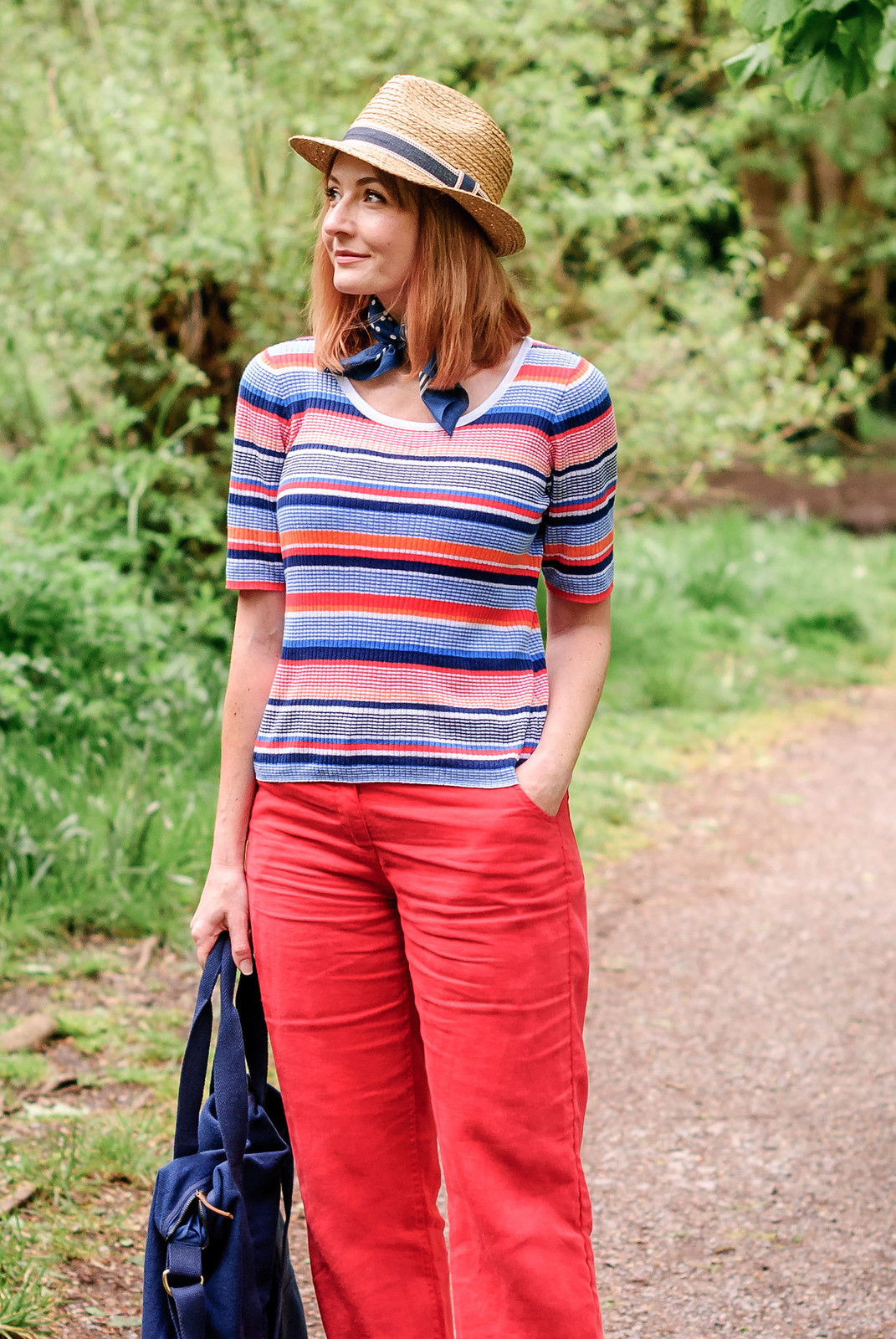 Preppy summer style from Seasalt Cornwall  multicoloured stripe t-shirt  wide leg red trousers  navy knotted neck scarf  straw fedora hat | Not Dressed As Lamb, over 40 style