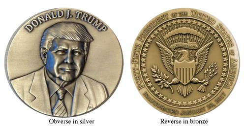 Ohio Trump Inaugural Medals in silver and bronze