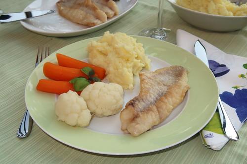 Rotbarschfilet mit Kartoffelpüree, Blumenkohl und Möhren (mein Teller)
