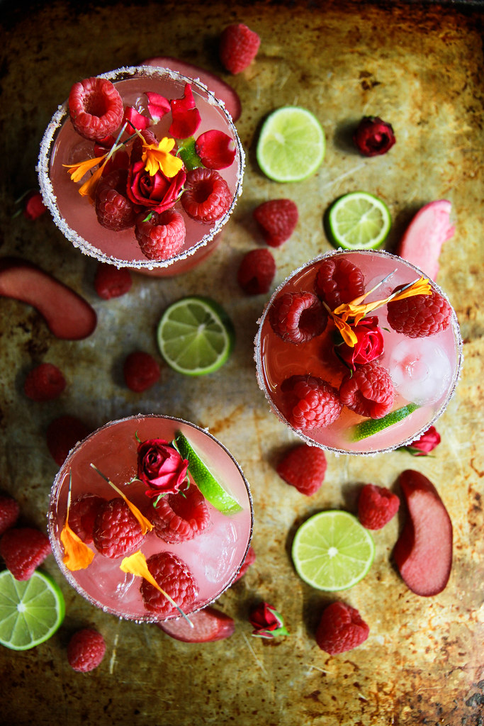 Raspberry Rhubarb Margaritas from HeatherChristo.com
