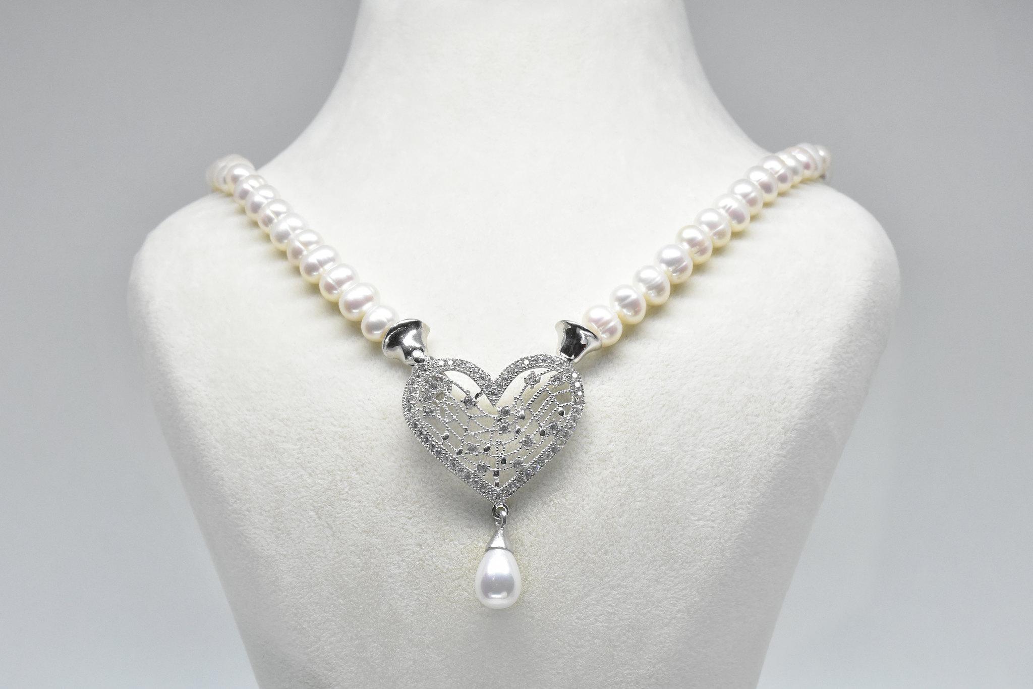 - Ahsen 925K Gümüş Klipsli Doğal Beyaz İnci Kolye-AH-00041