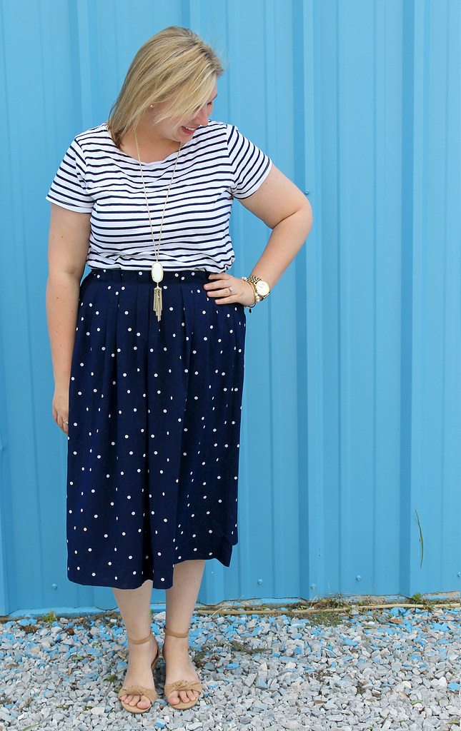 polka dot midi and breton tee 5