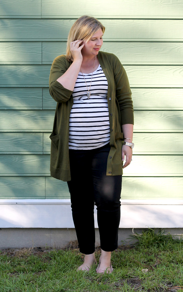 long olive cardigan, stripe tee, black pencil pants 3
