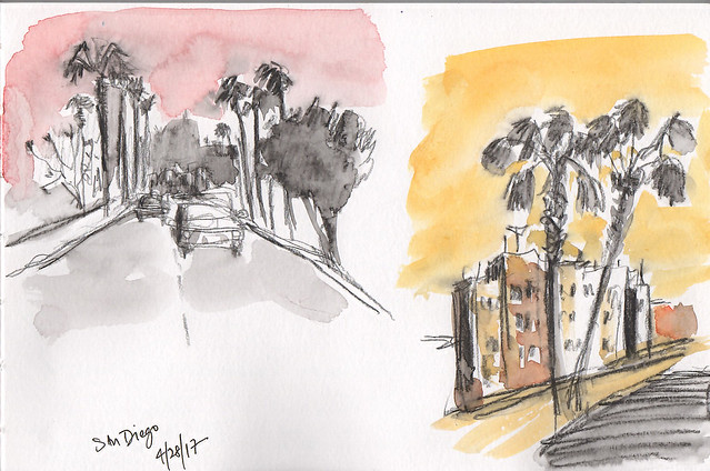 Sketches from car, San Diego, CA