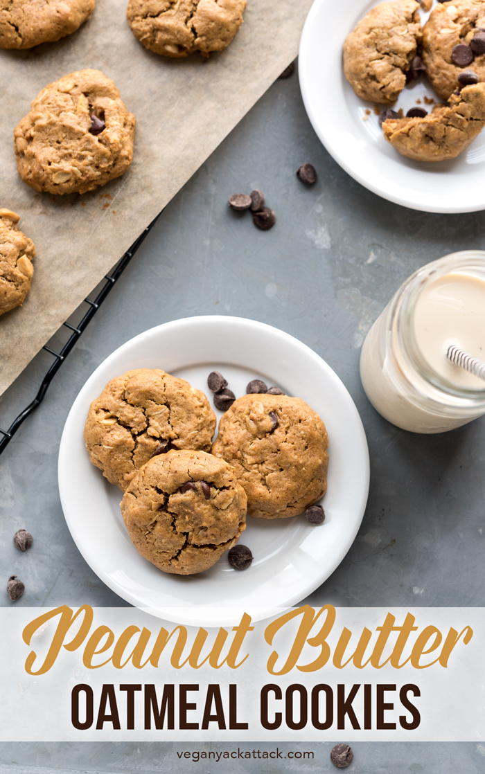 These Peanut Butter Oatmeal Cookies are easy-to-make, fun to customize, and always a crowd pleaser! With a gluten-free option, from the book, But My Family Would Never Eat Vegan! #vegan #soyfree #eggfree