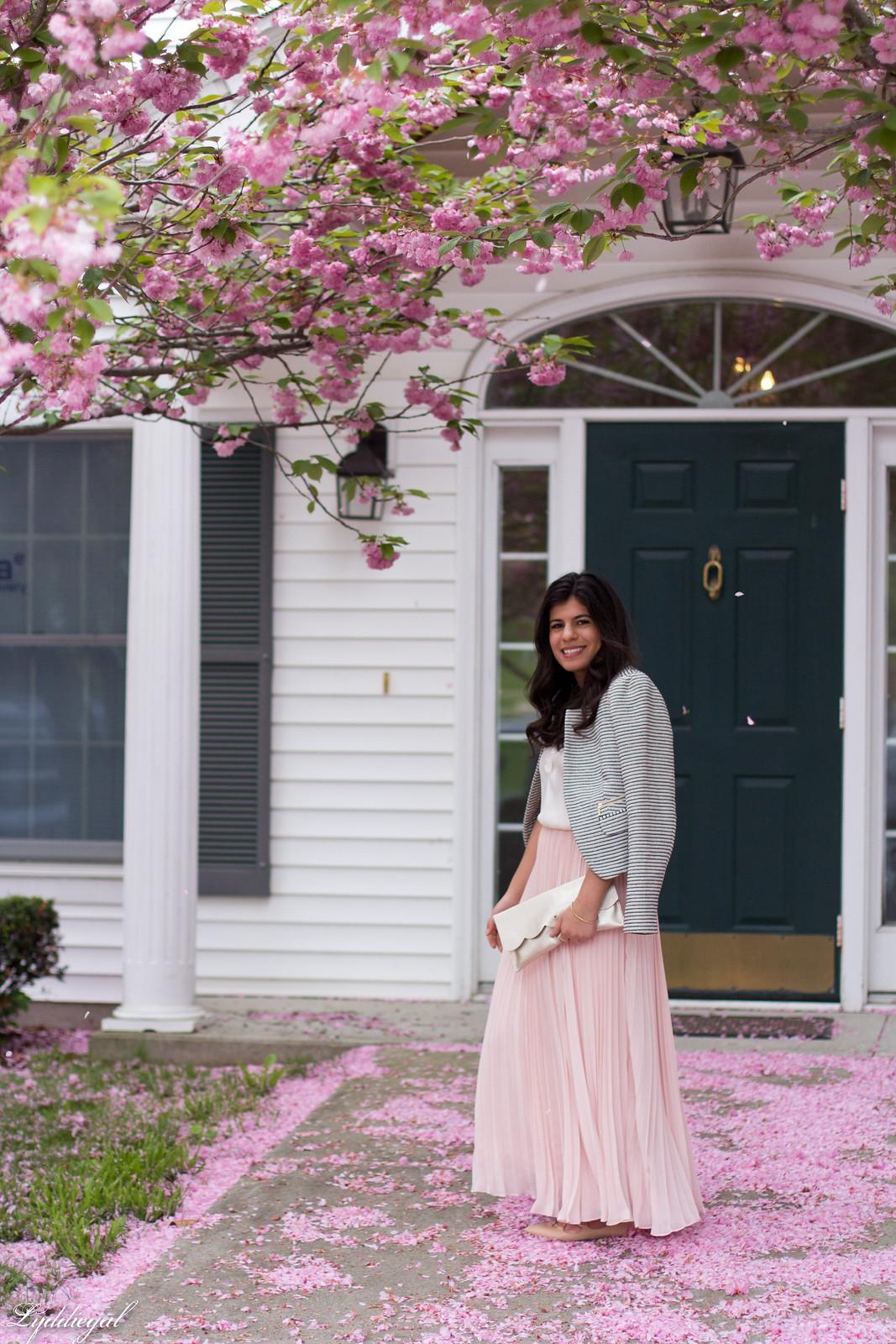 blush pleated maxi skirt, lace cami, striped blazer, scalloped clutch-2.jpg