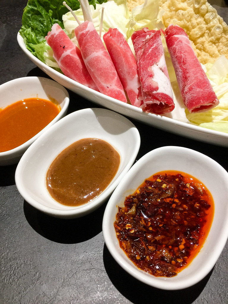 Three kinds of sauces for the Shabu-Shabu.