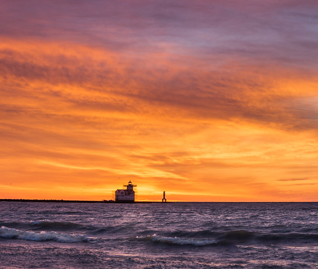 Sunrise, Lighthouse, Lake Michigan, Kewaunee, WI, Orange