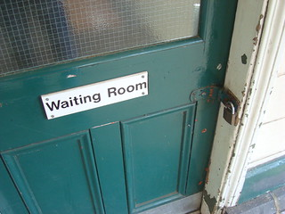 Locked door marked 'Waiting Room' on Romsey railway station