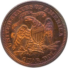 1870 Barber seated Liberty pattern 25cent reverse