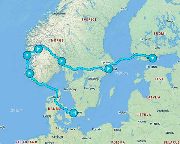 Mapa de nuestra ruta de 10 días por Europa y los países del norte