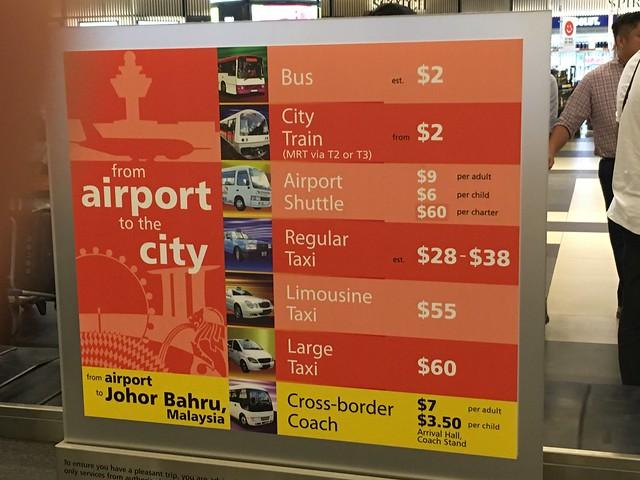 シンガポール空港タクシー料金