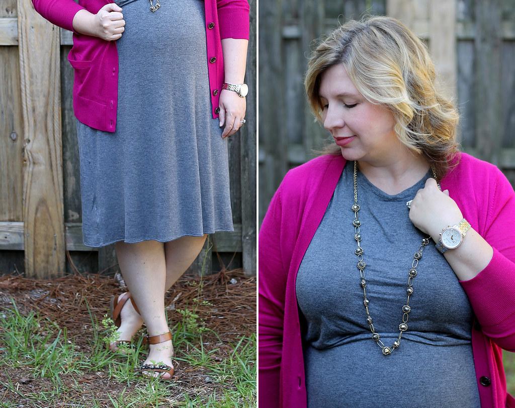 magenta cardigan, gray midi dress and sandals_1