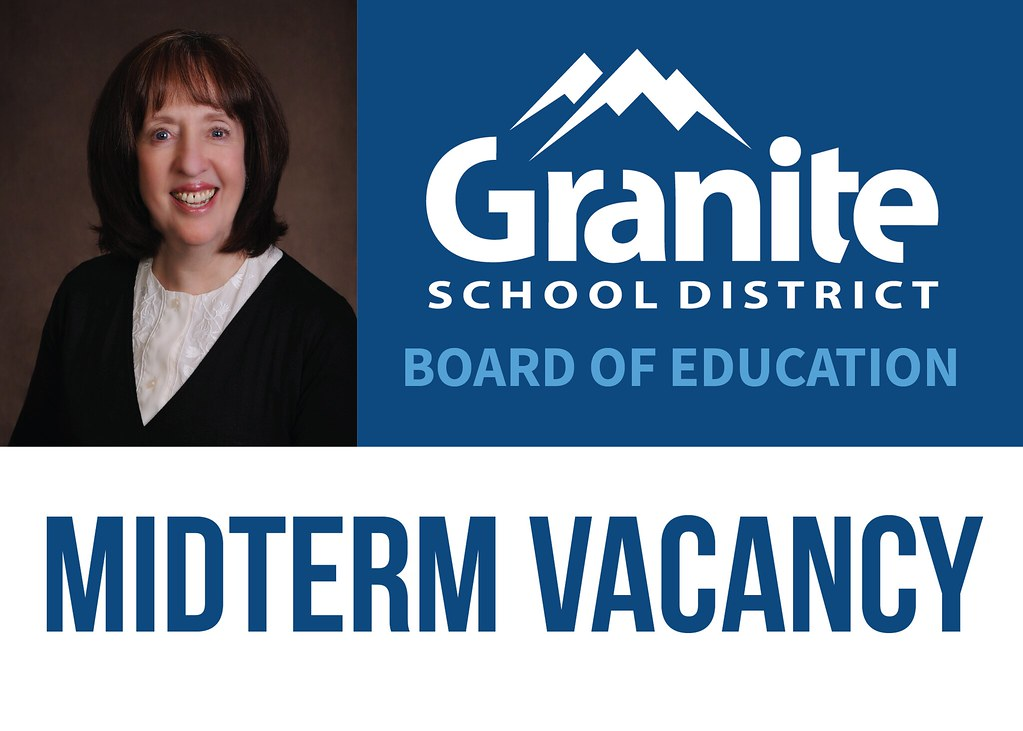Photo of Sarah Meier with text 'Granite School District Board of Education Midterm Vacancy'