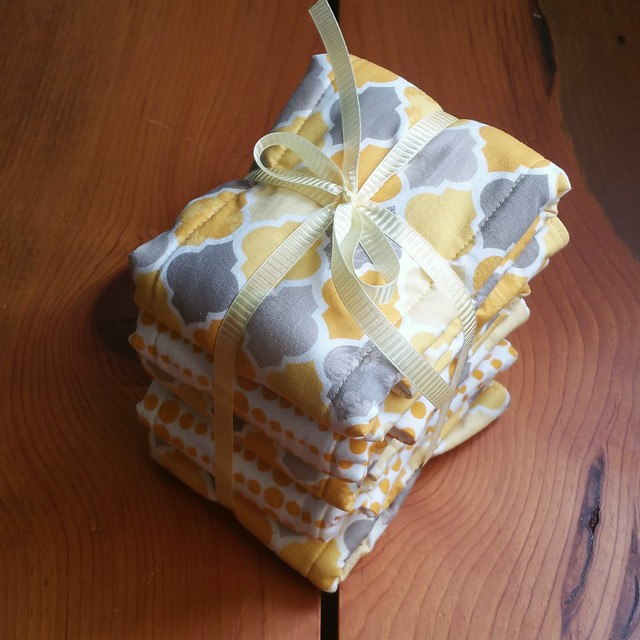 Yellow and Grey Cloth Diaper Burp Cloths | shirley shirley bo birley Blog