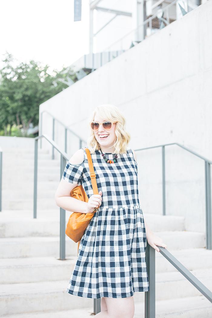 austin fashion blogger writes like a girl asos cold shoulder gingham dress15