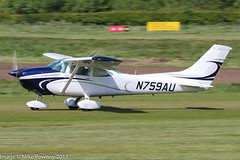 N759AU - 1977 build Cessna 182Q Skylane, rolling for departure on Runway 26R at Barton