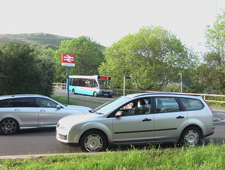 Optare Solo bus outside Fishguard & Goodwick station