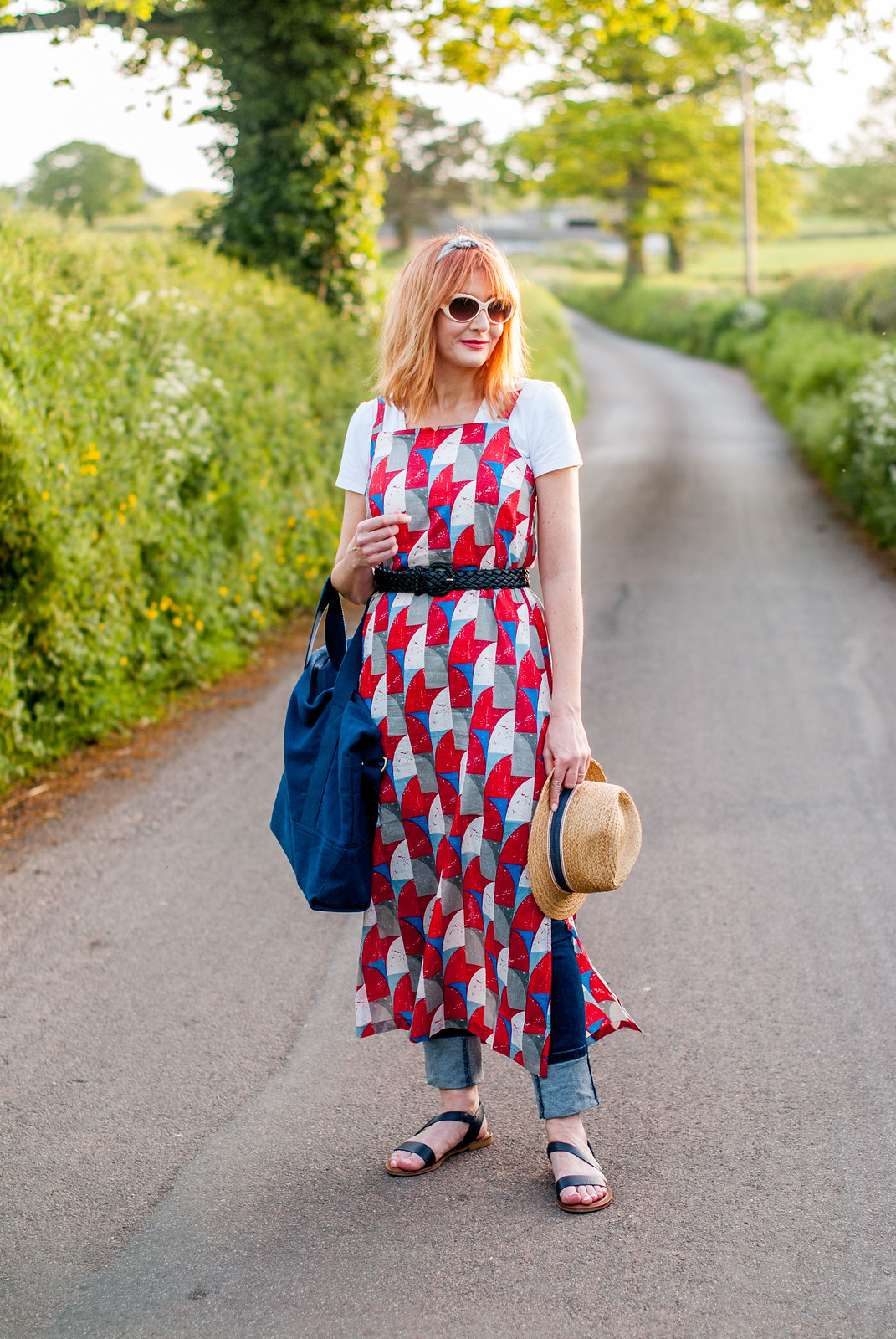 Summer dressing: Strappy printed maxi dress over jeans and white t-shirt retro styling preppy style | Not Dressed As Lamb, over 40 blog