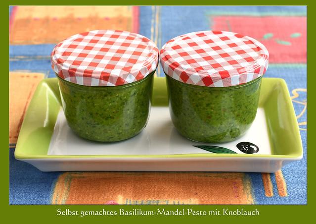 Selbst gemachtes Basilikum-Mandel-Pesto mit Rezept ... Foto und Collagen: Brigitte Stolle, Mannheim 2017