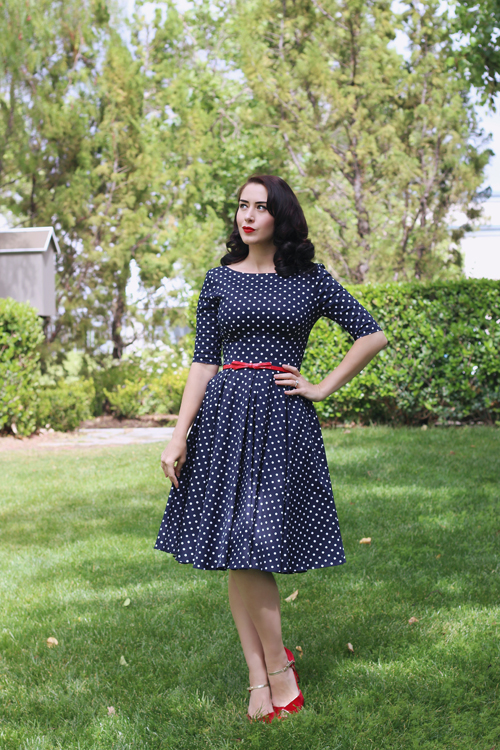 The Pretty Dress Company Hepburn Dress in Polka Dot