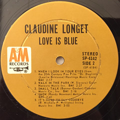 CLAUDINE:LOVE IS BLUE(LABEL SIDE-B)